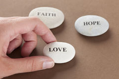Love, Faith and Hope stones Royalty Free Stock Images