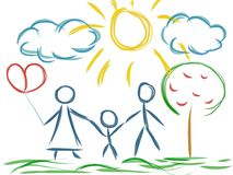 Love family artistic drawing Stock Photos
