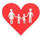 Love and Family concept. Paper Family in Red Heart isolated Royalty Free Stock Photography