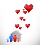 Love family home illustration design Royalty Free Stock Images