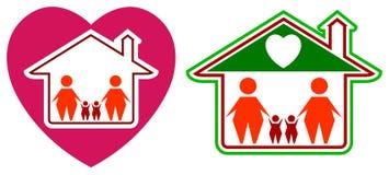 Love family. Isolated line art logo design Stock Images