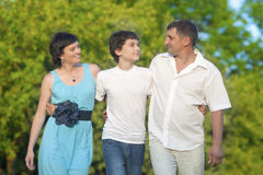 Love and Family Values Concepts. Happy Caucasian Family of Three Spending Time Together Royalty Free Stock Images