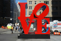 Love in New York City. The famous LOVE sculpture by Robert Indiana, in Midtown Manhattan royalty free stock photography