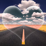 Love fantasy on the open road at a beautiful sunny day Royalty Free Stock Photo