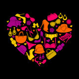 Love Fashion. Illustration of a colorful heart made from female fashion accessories Stock Image