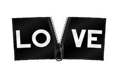 Love - fashion slogan for t-shirt on zipper banner. Vector Royalty Free Stock Image