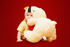 Love.Favorite toy. Kid with teddy. Child hug teddy bear Royalty Free Stock Image