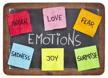 Love, fear, joy, anger, surprise and sadness. Six basic emotions - love, fear, joy, anger, surprise and sadness - sticky notes on a vintage slate blackboard royalty free stock images
