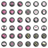 Love feelings heart modern icon set Royalty Free Stock Photos