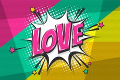 Love pop art comic book text speech bubble. Love feelings wow comic text speech bubble. Colored pop art style sound effect. Halftone vector illustration banner royalty free illustration