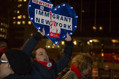 Love Fights Back. Rally for immigrants NYC. Tuesday 2/14/2017 Foley Square New York City royalty free stock photo