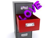 Love in filing cabinet drawer. Love in purple block text graphic sticking out of filing cabinet drawer Stock Image