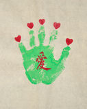Love  fingerprints. Printing on paper hand imprint, the palm is Chinese word love Stock Photos