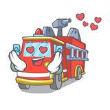 In love fire truck mascot cartoon. Vector illustration Royalty Free Stock Photography
