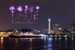 Love Fireworks celebrating over marina bay in Yokohama City Royalty Free Stock Images