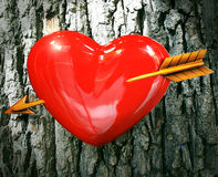 Love at first sight. Heart with arrow with bark as background Royalty Free Stock Image