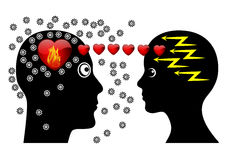 Love at First Sight. Attraction at first seeing makes couple brainless Stock Images