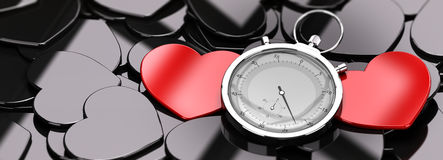 Love at First Sight - Dating. Two red hearts in the middle of a crowd of black hearts, plus a stopwatch, concept image for online dating, concept image Stock Photo