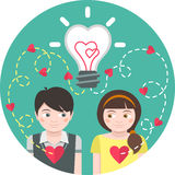 Love at First Sight. Round illustration of love at first sight with a light bulb and traces of hearts Stock Photos