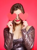 Love from first sight. Woman in stylish dress hold symbol love. Romantic mood. Girl in love dating. Obsession concept. Fall in love. Girl adorable fashion royalty free stock image