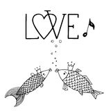 Love fish with with calligraphic inscription, singing fish, kiss fish, love hand drawing. Love fish with with calligraphic inscription, singing fish, kiss fish Royalty Free Stock Images