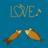 Love fish with with calligraphic inscription, singing fish, kiss fish, love hand drawing. Love fish with with calligraphic inscription, singing fish, kiss fish Stock Photography
