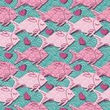 Love fish seamless pattern. Vector illustration Stock Photo