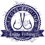 Love fishing. Illustration icon love for fishing on a white background Royalty Free Stock Photos