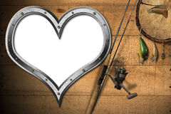 Love Fishing Tackle. Empty metal porthole heart shape on wooden floor with sand, old rusty anchor, fishing net and two seashells royalty free illustration