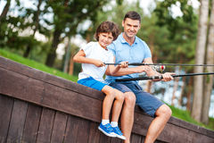 We love fishing together. Royalty Free Stock Images