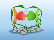 In love fishs. Aground aquarium Royalty Free Stock Photos