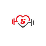Love fit with letter S logo vector. Heart letter S sign, pulse and dumbbell logo, Fitness and heart icon vector, Healthcare sport medical and science symbol Royalty Free Stock Photos