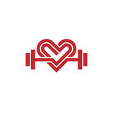 Love fit logo vector. Heart sign and dumbbell logo, Fitness and heart icon vector, Healthcare sport medical and science symbol, Healthy lifestyle vector logo stock illustration