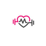 Love fit with pulse logo vector, letter M. Love fit with pulse logo vector, Heart letter M sign, pulse and dumbbell logo, Fitness and heart icon vector stock illustration