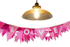 Love flag and light lamp on white Stock Photos