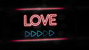 Love - Flashing vibrant colorful neon board background stock footage