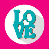 Love, flat icon with long shadow, vector Stock Images