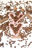 Love Flavors - Coffee, Heart Shaped Candy-bars  Stock Photography