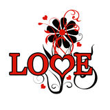 Love Floral. A textual illustration of Love with floral elements Royalty Free Stock Photos