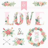 Love Floral Bouquet Elements vector illustration