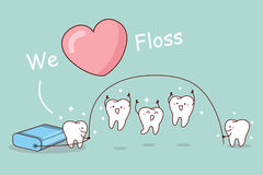 We love floss. Cartoon tooth with floss, great for dental care concept Royalty Free Stock Photo