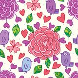 Love flower bird drawing drop background seamless pattern Royalty Free Stock Photography