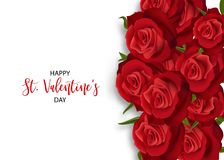 Realistic red rose valentines card. Love flower bouquet Valentines banner frame. Beautiful holiday blossom invitation. Vector colored illustration. Spring summer Royalty Free Stock Photo
