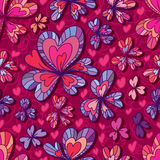 Love flower decor seamless pattern. Illustration drawing style love flower loves decor seamless pattern red purple color colors background graphic texture Stock Photos