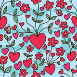 Love flower growing cloud seamless pattern royalty free illustration
