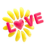 Love and flower made of heart and petals Stock Photos