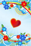 Love flower rainbow sky. Heart against the backdrop of a rainbow sky, flowers. Vector illustration vector illustration