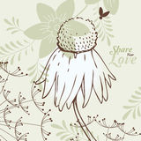 Love Flowers Elegant Card in Japanese Style, SPA Stock Images