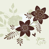 Love Flowers Elegant Card in Japanese Style, SPA Stock Photo