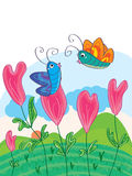 Butterflies Love_eps. Illustration of love flowers with 2 cute butterflies on love fields, landscape. --- This . eps file info Version: Illustrator 8 EPS Royalty Free Illustration